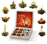 Creano Teeblumen Geschenkset in Teekiste aus Holz 12 Erblühtee in 9 Sorten Weißtee & Schwarztee, Geschenk zum Muttertag