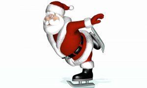 Eislaufender Weihnachtsmann