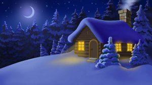 Weihnachtliches Haus im Schnee